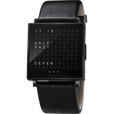 QLOCKTWO Watch 潮流時尚文字手錶-黑x皮革錶帶/35mm