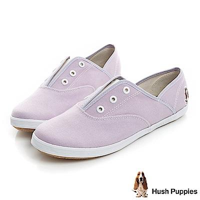 Hush Puppies 馬卡龍系咖啡紗懶人帆布鞋-薰衣紫