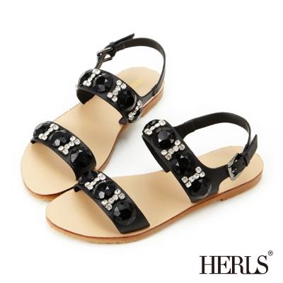 HERLS-女神款璀璨寶石涼鞋-黑色