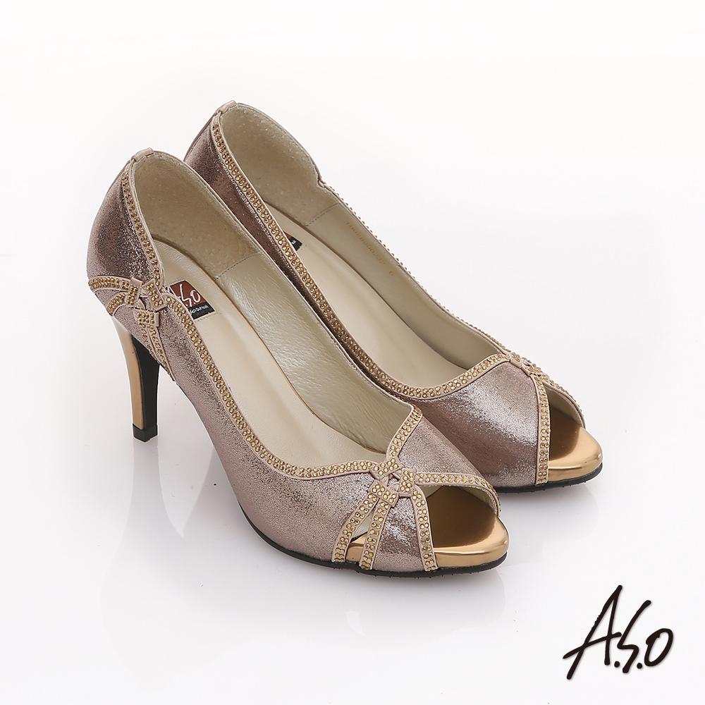 A.S.O 璀璨不夜城 奢華水鑽閃耀魚口跟鞋  金