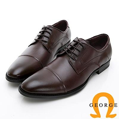 GEORGE 喬治-時尚職人系列 經典真皮小圓楦紳士鞋皮鞋-酒紅