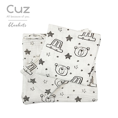 Cuz-熊熊搭夜車(紗布巾)30cm-2入
