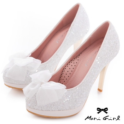 Mori girl甜美花嫁-紗緞蝴蝶結亮片高跟婚鞋 白