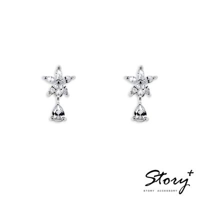 STORY ACCESSORY-花朵鋯石水滴-純銀耳環