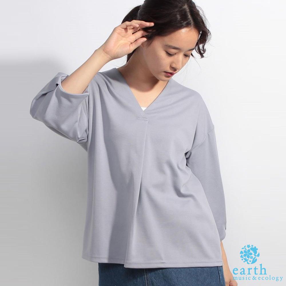 earth music  氣質V領前壓摺設計襯衫