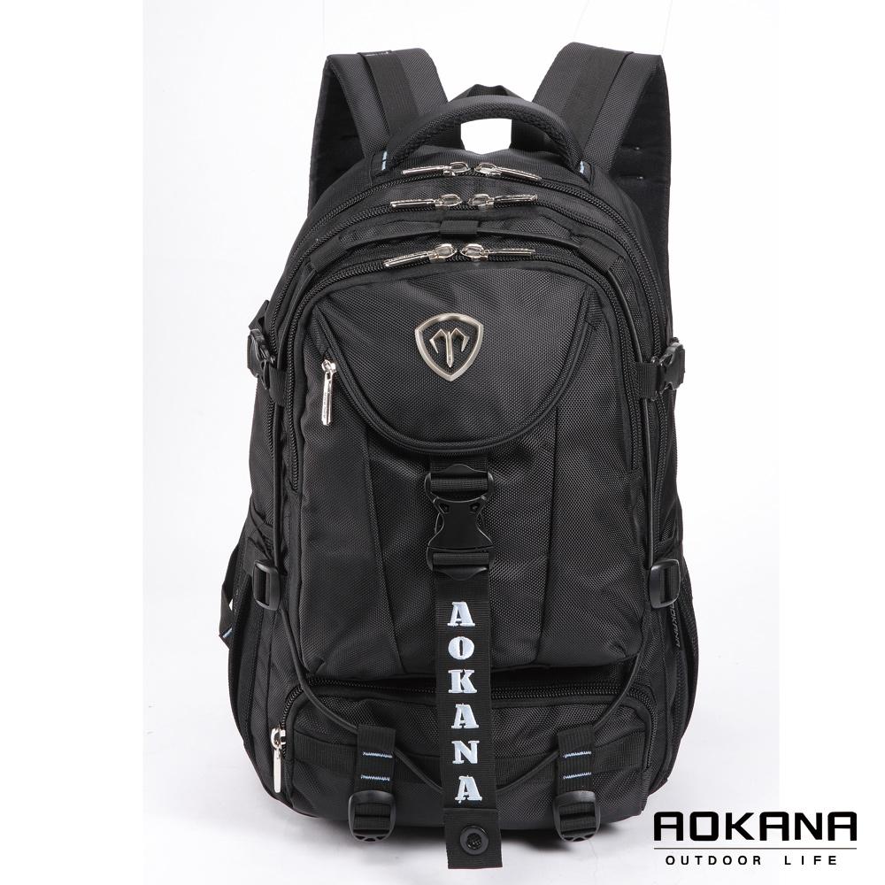 AOKANA奧卡納 台灣釦具 防潑水護脊紓壓電腦後背包(水藍標)68-067