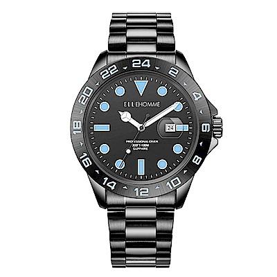 ELLE 時尚晶鑽不鏽鋼腕表-黑藍色-45mm