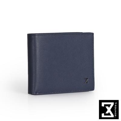 74盎司 Plain 真皮橫式短夾(零錢袋)[N-499]藍