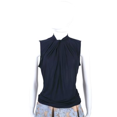 MARELLA 深藍色抓褶領結設計無袖上衣
