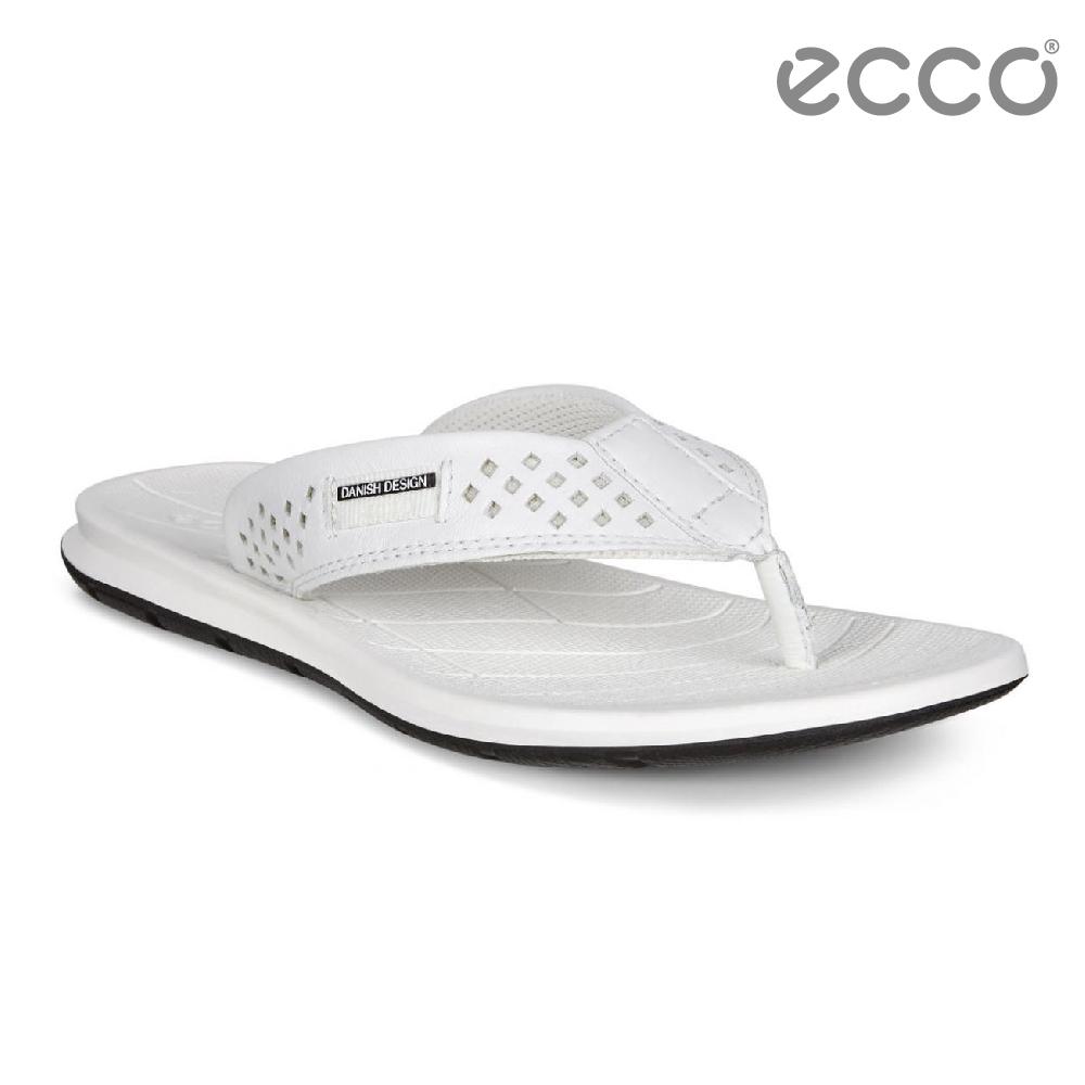 ECCO INTRINSIC TOFFEL 休閒人字拖鞋-白