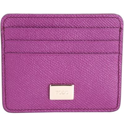 TOD'S 金屬牌飾萬用卡片夾(紫色)