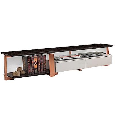 品家居 肯柏6.8尺雙色二抽長櫃/電視櫃-203x40x41.5cm免組