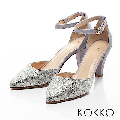 KOKKO -仙履童話尖頭踝帶真皮高跟鞋-夢幻銀