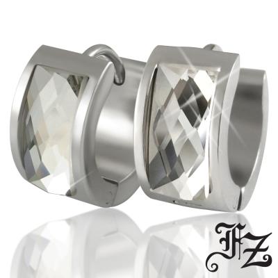 FZ  時尚簡約T鑽鋼耳環(白鑽)