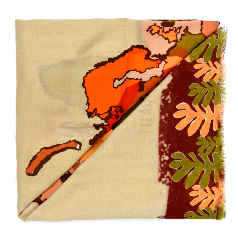 Alviero Martini 義大利地圖包 經典大地地圖小草印花方巾/M-酒紅邊/奶茶色