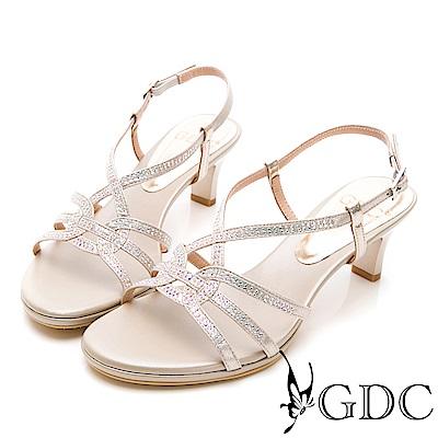 GDC-閃爍水鑽交叉繞帶低跟涼鞋-金色