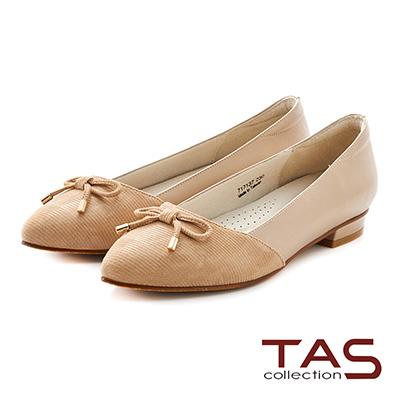 TAS 立體綁繩蝴蝶結羊皮尖頭低跟鞋-淺卡其