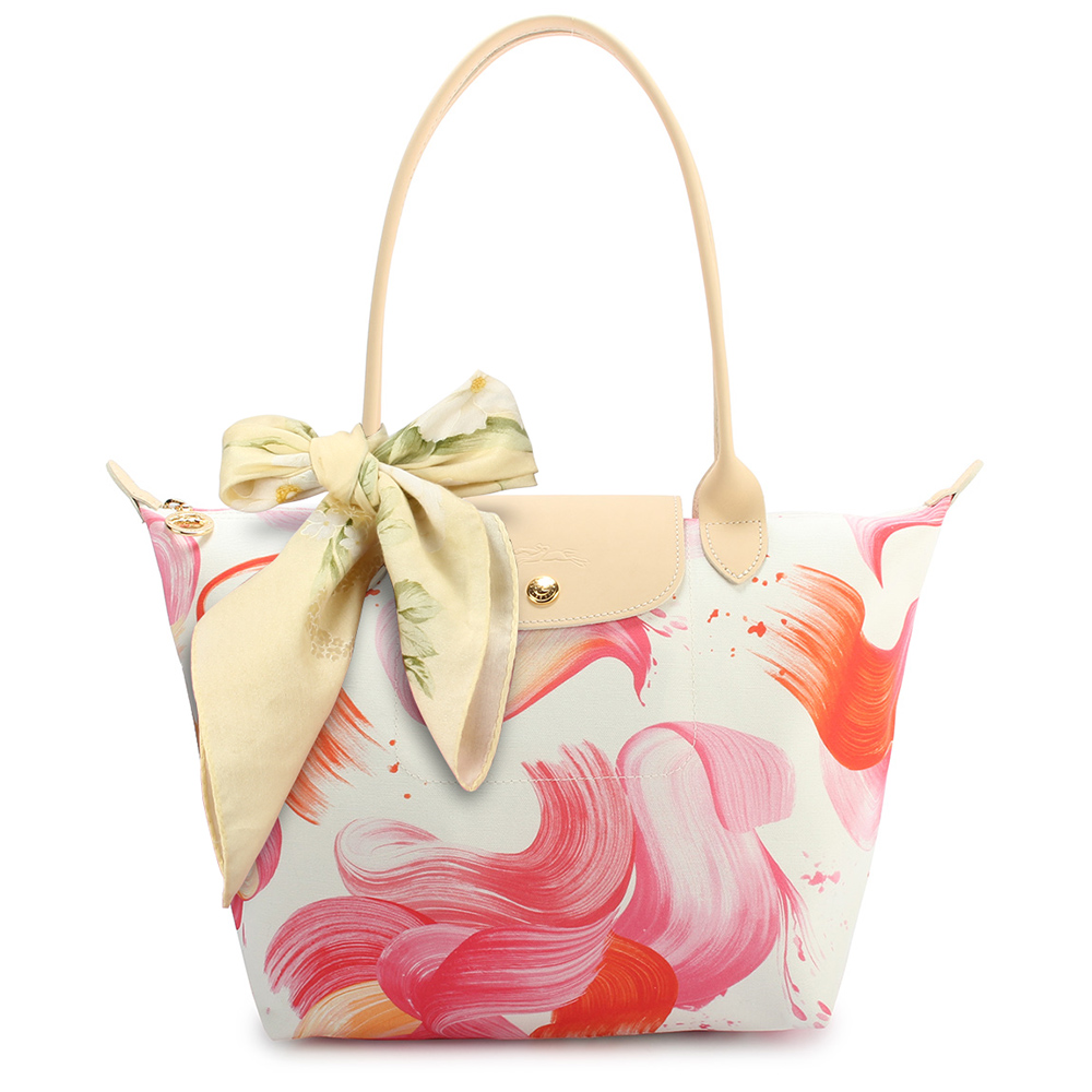 Longchamp Splash 花漾清新圖騰小型水餃包(長把/珊瑚紅)-加贈帕巾