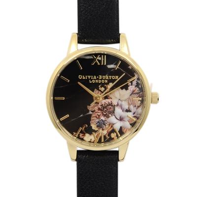 Olivia Burton 大理石花卉紋路 黑色真皮錶帶金框-30mm