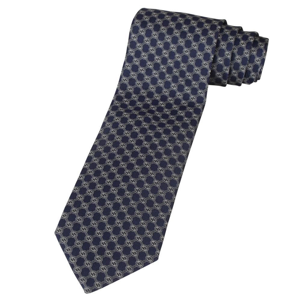 GUCCI 經典LOGO圓狀藍底領帶(白字)
