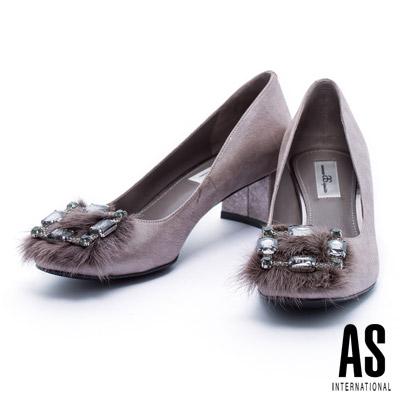 低跟鞋 AS 奢華雍容水貂毛方鑽飾釦點綴全羊皮方頭低跟鞋-古銅銀