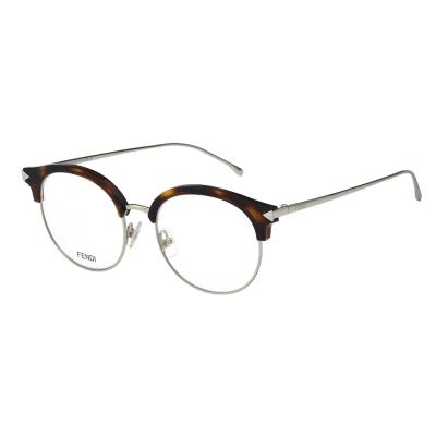FENDI  復古眉框圓框 光學眼鏡 (琥珀色)FF0165