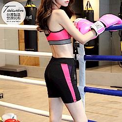 台灣品質.世界同布~撞色拼接貼身彈力運動短褲.2色-OB大尺碼