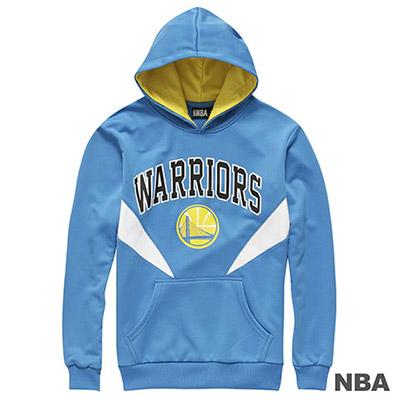 NBA-金州勇士隊LOGO印花連帽長袖厚T恤-水藍 (男)