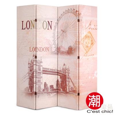 潮傢俬-倫敦眼四片式彩繪屏風 W160xD2.5xH180cm