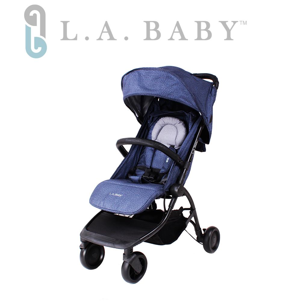 (L.A BABY 美國加州貝比)  旅行摺疊嬰兒手推車(牛仔色)