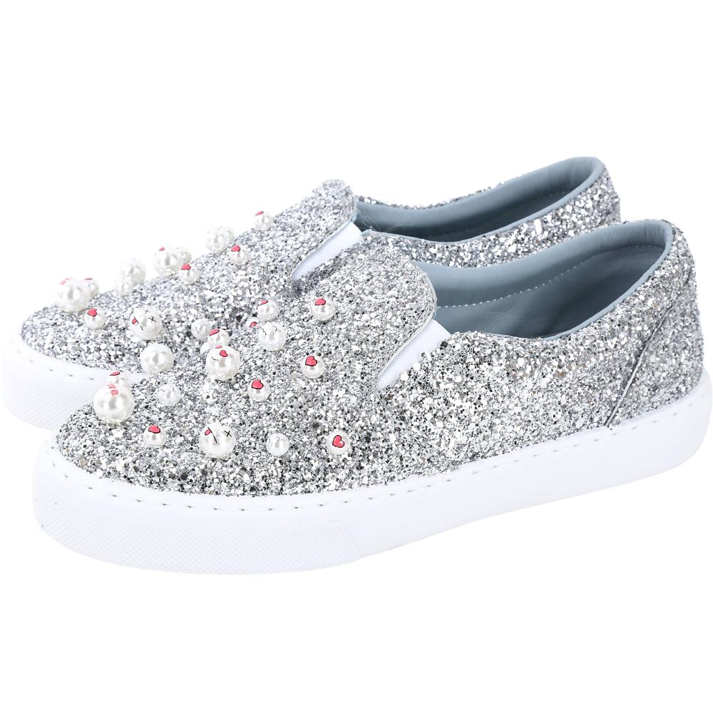 Chiara Ferragni Candies 珍珠表情符號亮片厚底鞋(銀色)