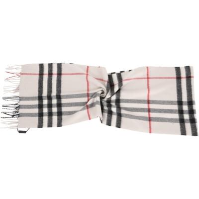 BURBERRY HERITAGE 灰色格紋喀什米爾圍巾(100%CASHMERE)