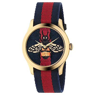 GUCCI-LeMarch?des Merveilles精緻蜜蜂刺繡腕錶YA1264061