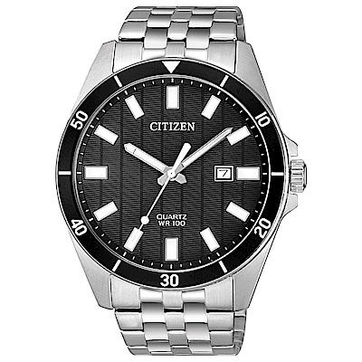CITIZEN星辰 恢宏大度鋼帶石英男錶(BI5050-54E)-黑/42mm