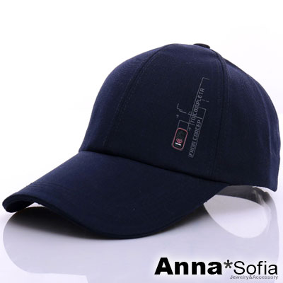AnnaSofia 印文長方鈕標 棉質防曬遮陽運動棒球帽(深藍系)