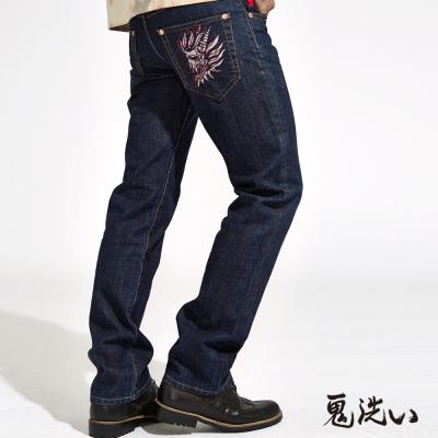 鬼洗 BLUE WAY 錯位精繡低腰直筒褲-深藍