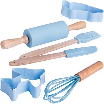 EXCELSA 兒童餅乾模+桿麵棍工具6件(藍)