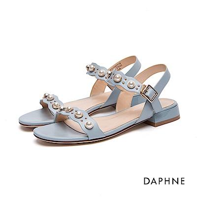 達芙妮DAPHNE 涼鞋-花邊珠飾鉚釘低跟涼鞋-藍