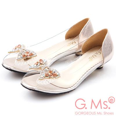 G.Ms. MIT系列-果凍透明蝴蝶結燙鑽魚口低跟鞋-金色