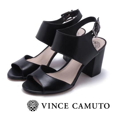VINCE CAMUTO 名媛時尚 真皮金屬扣粗跟涼鞋-黑色