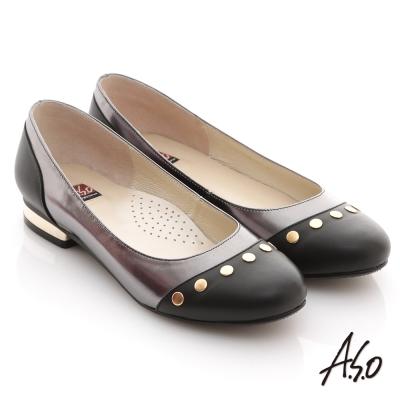 A.S.O 玩酷俏皮 全真皮金屬拼接平底鞋 黑