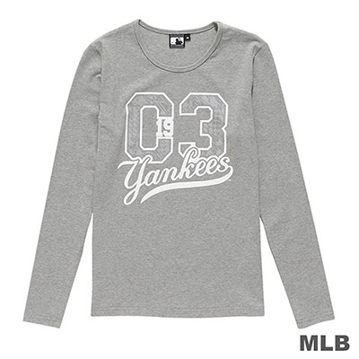 MLB-紐約洋基隊數字印花長袖T恤-麻灰 (女)