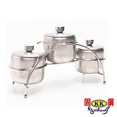 固鋼304不鏽鋼鹽罐調味罐300ML三罐組(8H)