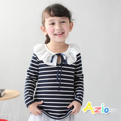Azio Kids 童裝-上衣 綁帶雪紡領條紋長袖T恤(藍)