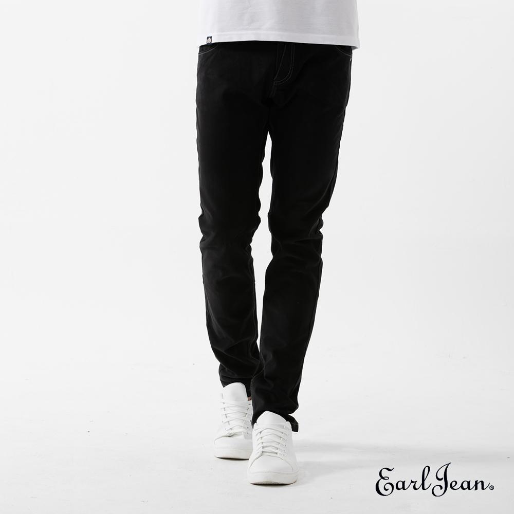Earl Jean超輕磨毛黑色窄管休閒褲-黑-男
