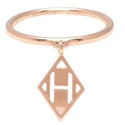 HERMES 愛馬仕經典菱型H LOGO細版戒指(玫瑰金)