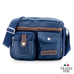 Travel Fox旅狐 休閒包 熱銷撞色雙層隨身斜揹包 - 藍