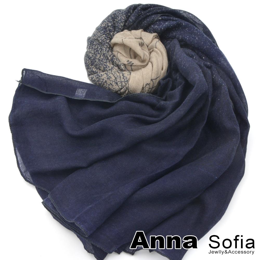 【2件450】AnnaSofia 灑點舞線款 拷克邊韓國棉圍巾披肩(駝藏藍系)
