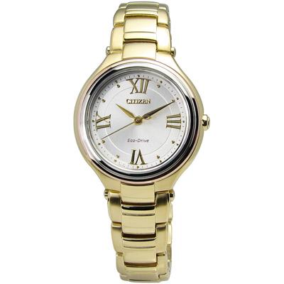 CITIZEN L 璀璨花漾光動能手錶(FE2043-52A)-金色/30mm
