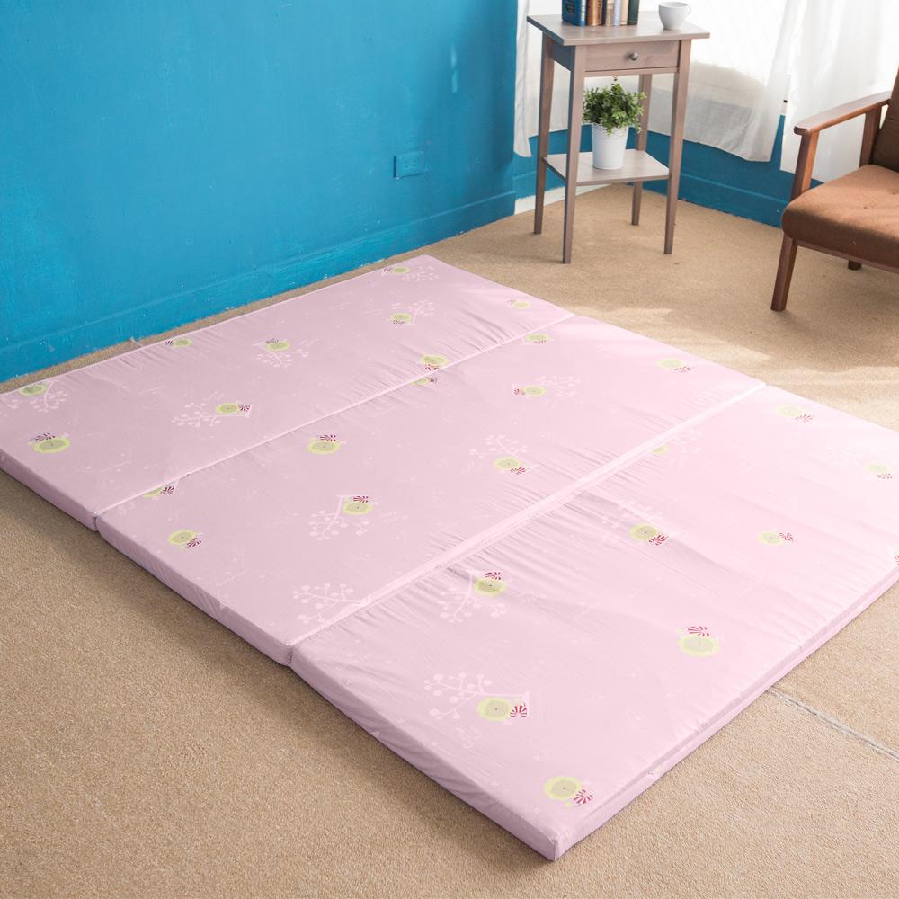 奶油獅 MIT高支撐-臻愛三折記憶聚合收納床墊-單人3尺(粉紅)